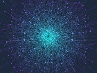 Particles over a dark blue background